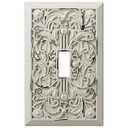 Filigree Antique White Cast 1 Toggle Wallplate by Amerelle