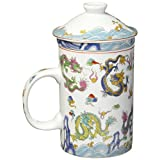 """OS Steal Street 10029 5"""" Chinese Dragon Porcelain Tea Cup with Strainer, White"""