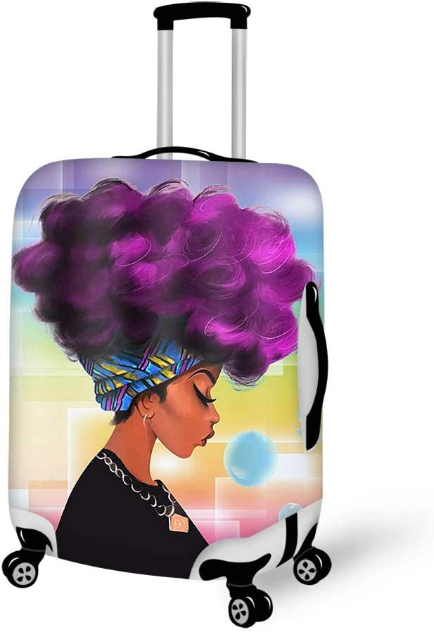 Luggage Cover African Women With Purple Hair Hairstyle Protective Travel Trunk Case Elastic Luggage Suitcase Protector Cover