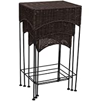 Household Essentials Resin Wicker Nested Accent Table 3Piece Set, Dark Brown