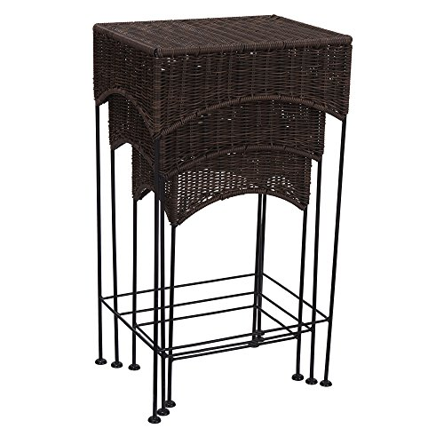 Nesting Wide Table - Household Essentials Resin Wicker Nested Accent Table 3Piece Set, Dark Brown