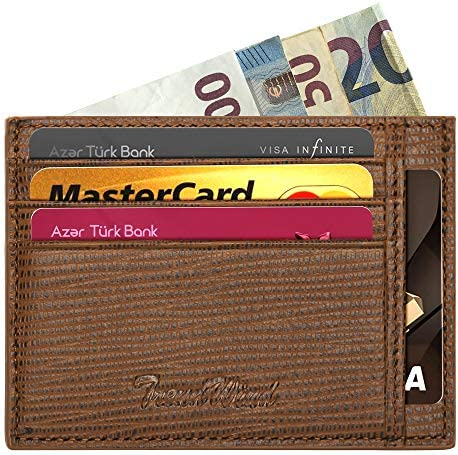 Black Mens Wallet Minimalist RFID Blocking Slim Credit Card Holder,Holds up to 8 Cards and Bank Notes,Front Pocket Wallet with Gift Box