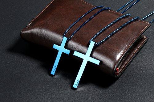 726f78ba5a Sunflower Jewellery Matching Cross Necklace Set His Hers Pendant Necklace  for Girls Boys Relationship (Blue
