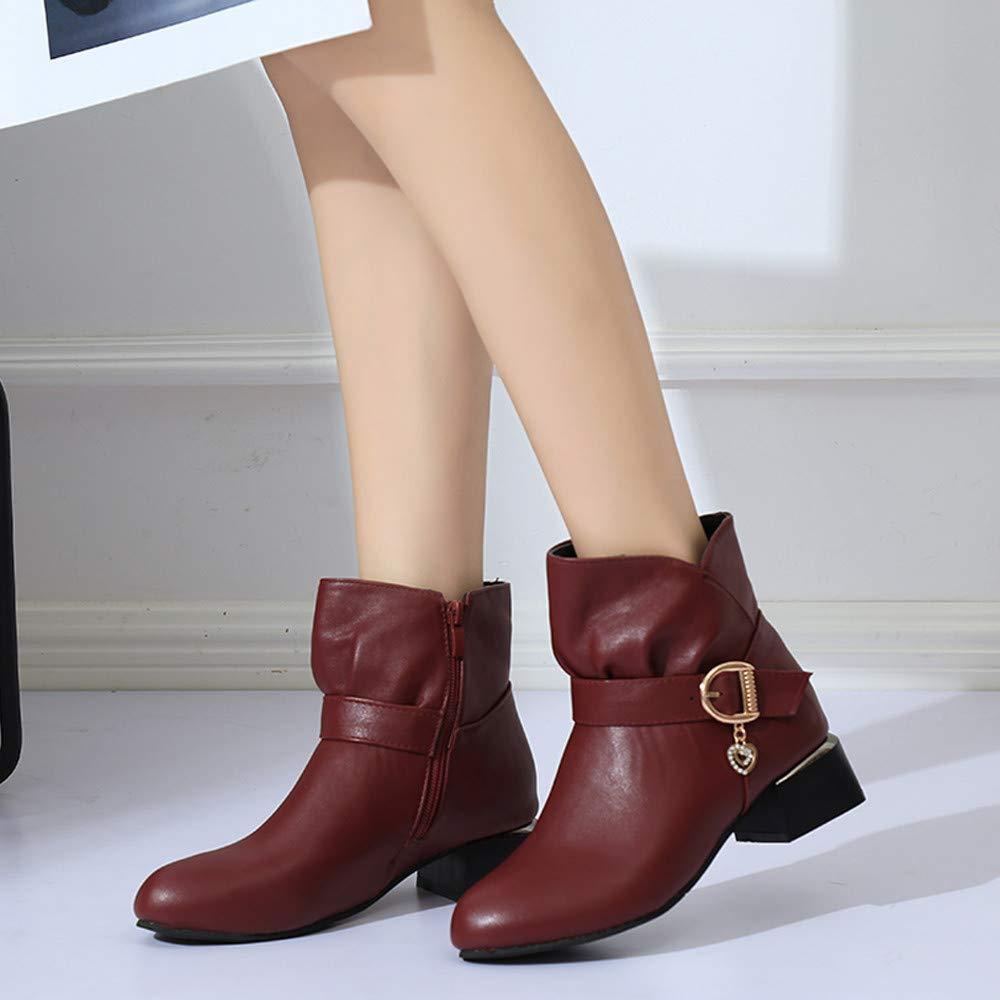 ❤️ Botas para Mujeres Hebilla Cuadrada Hebilla de Cuero de Las Mujeres Cremallera de Cuero Boots Zapatos Bot/ín Absolute