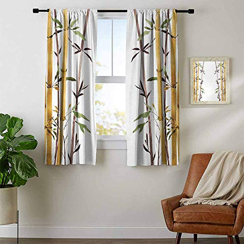 Bamboo, Curtains and Drapes, Bamboo Grove Calm Your Mind Slow Down Zen Relax Hand Drawn Style Artwork, Curtains for Sliding Glass Door, W96 x L72 Inch Cream Brown White