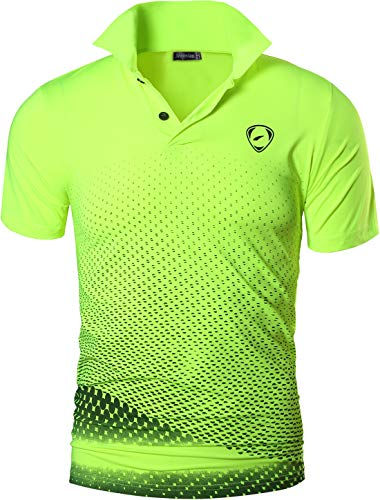 jeansian Men's Sport Quick Dry Short Sleeves Polo T-Shirt Tops LSL195 GreenYellow L