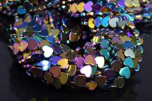 6mm Rainbow Hematite Heart Grade Natural Gemstone Loose Beads 7.5