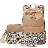 Sammid Casual School Backpack, Fashion 3pcs Canvas Big School Backpack Sets Smooth Zipper Shoulder Bag Mini Wallet bag Teen Girls Boys -Khaki