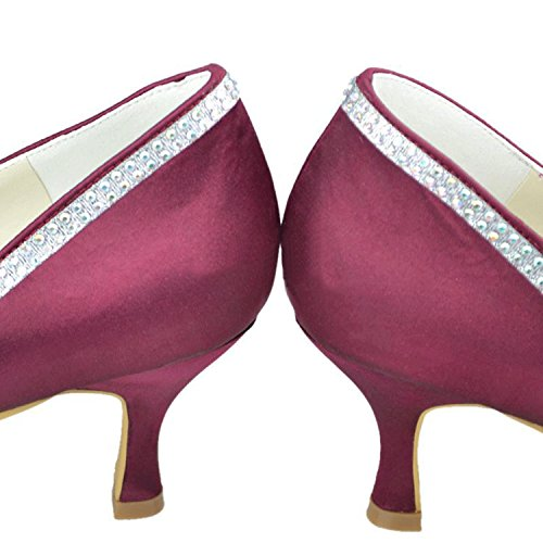 Minishion Girsl Womens Bowknot Satin Bridal Wedding Pumps Dress Evening Shoes Burgundy-7.5cm Heel UKdg0FG57