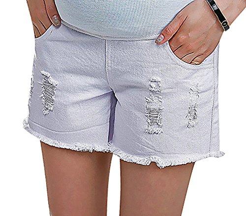 US&R, Women's Denim White Fray Hem Tear Detail Secret Fit Belly, White 10 ,Manufacturer(XXL)