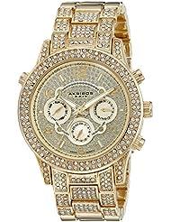 Akribos XXIV Womens AK776YG Crystal Encrusted Swiss Quartz Movement Watch with Yellow Gold Dial and Bracelet