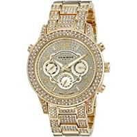Akribos XXIV Women's AK776YG Crystal Encrusted Swiss Quartz Movement Watch with Yellow Gold Dial and Bracelet