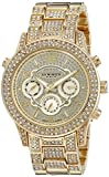 Akribos XXIV Women's AK776YG Crystal Encrusted Swiss Quartz Movement Watch with Yellow Gold Dial and Bracelet