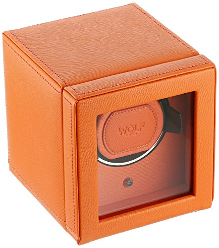 WOLF Unisex 461139 Wolf Cub Single Orange Analog Display Watch Winder with Cover ()