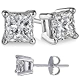 Unisex 925 Sterling Silver Princess Cubic Zirconia Square White Cz Stud Earrings. Solid Basket Settings
