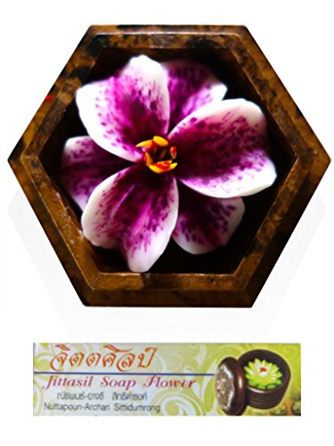 (Jittasil Thai Hand-Carved Soap Flower, 4 Inch Scented Soap Carving Gift-Set, Purple Lily In Decorative Hexagonal Pine Wood Case)