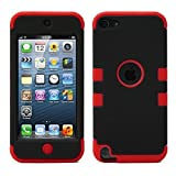 Lantier Touch 5th Case,Plastic 3 Layer TUFF Hard Cover Camo Hybrid Silicone Quakeproof Drop Resistance Protective Shell Case for iPod Touch 5 5th Generation with Screen Protector and Stylus Pen Black/Red