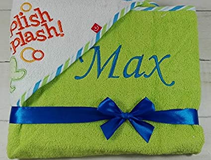 Kapuzentuch mit Namen bestickt HANDTUCH MIT KAPUZE 100/% Baumwolle Geschenk 76 x 76 cm, Gr/ün - Frosch