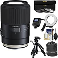 Tamron SP 90mm f/2.8 Di VC USD Macro 1:1 Lens with 3 Filters + Pouch + Ring Light Flash + Tripod + Kit for Canon EOS Cameras