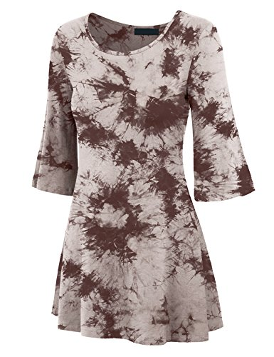 Made By Johnny WT1082 Womens V Neck 3/4 Bell Sleeves Tie Dye Tunic Top XL Brown