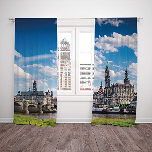 SCOCICI Satin Window Drapes Kitchen Curtains [ Cityscape,Ancient Town Dresden Old German Architecture Historical European Scenery Image,Grey Blue] Bedroom Living Room Dorm Kitchen Cafe for $<!--$93.35-->