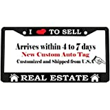 I LOVE TO SELL REAL ESTATE black Metal Auto License Plate Frame Car Tag Holder