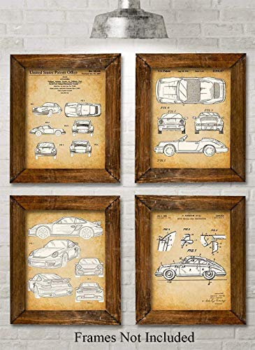 Original Porsche Patent Prints - Set of Four Photos (8x10) Unframed - Makes a Great Gift Under $20 for Car Lovers -