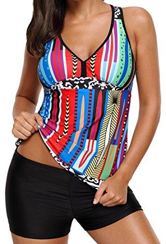 Aleumdr Womens V Neck Racerback Printed Padded Tankini Top Set Shortini Swimsuits with Swim Shorts Large Size Multicoloured
