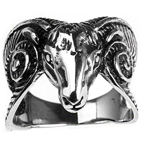 HIJONES Men's Stainless Steel Vintage Silver Tone Goat Head Gothic Biker Ring Punk Style Size 10 (Ram Head Ring)