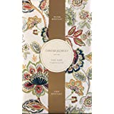 Cynthia Rowley Easy Care Fabric Tablecloth Floral Paisley Jacobean Pattern in Shades of Green Orange Blue Red Grey on Off White / Cream - 60 x 120