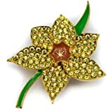 Elixir77UK Gold Colour Daffodil Flower Fashion Pin Brooch With Plain Crystals and Enamel UK SELLER