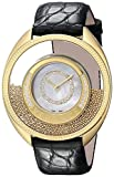 Versace Women's Destiny Spirit Gold IP Case Floating Spheres in Glass Bezel Mother of Pearl Dial Black Alligator Leather Diamond Watch 86Q71SD498 S009
