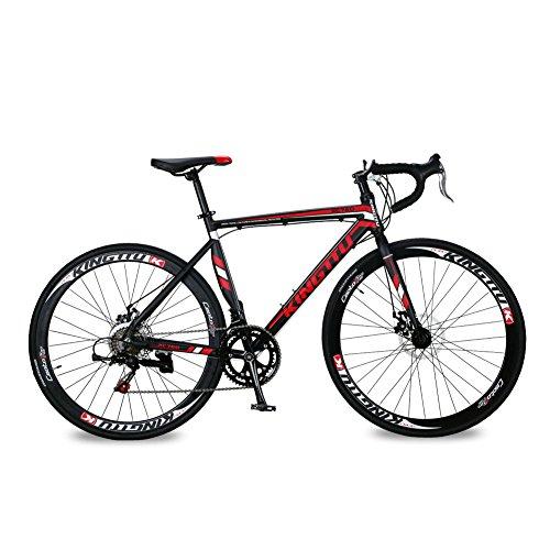 KINGTTU® 2016 New 52cm Rot-Schwarz XC760 Aluminiumrahmen ShimanoTZ 50 14 Geschwindigkeiten Rennrad 700C Herren-Straßen-Fahrrad-Scheibenbremse