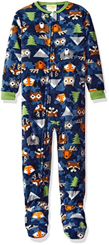 Komar Kids Children's Apparel Peas & Carrots Boys' Big Micro Fleece Footed Blanket Sleeper, Woodland Creatures, 4T price tips cheap
