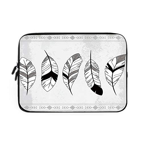 Feather Laptop Sleeve Bag,Neoprene Sleeve Case/Stylized Doodle Borders with Triangle Motifs Artistic Bohemian Western/for Apple MacBook Air Samsung Google Acer HP DELL Lenovo AsusBlack White