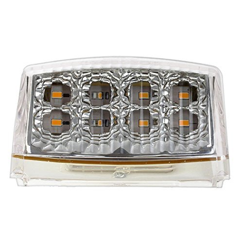Partsam 5pcs 17 LED Clear Lens Amber Cab Marker Top Roof Running Truck Cab Light Waterproof Top Reflective Lights Compatible with Peterbilt//Kenworth//Freightliner//Mack//Volvo