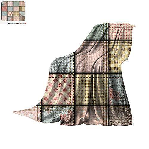 Shabby Chic Lightweight Blanket Patchwork Denim Seem Fabric Pieces with Stitches Square Tile Digital Print Velvet Plush Throw Blanket 60