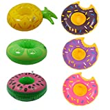 BuycitKy 6 Pack Inflatable Swimming Pool Drinker Boats Holders Coconut Tree Drink Float Pool Floating Coasters for Children Kids Bath Pool Toys Party