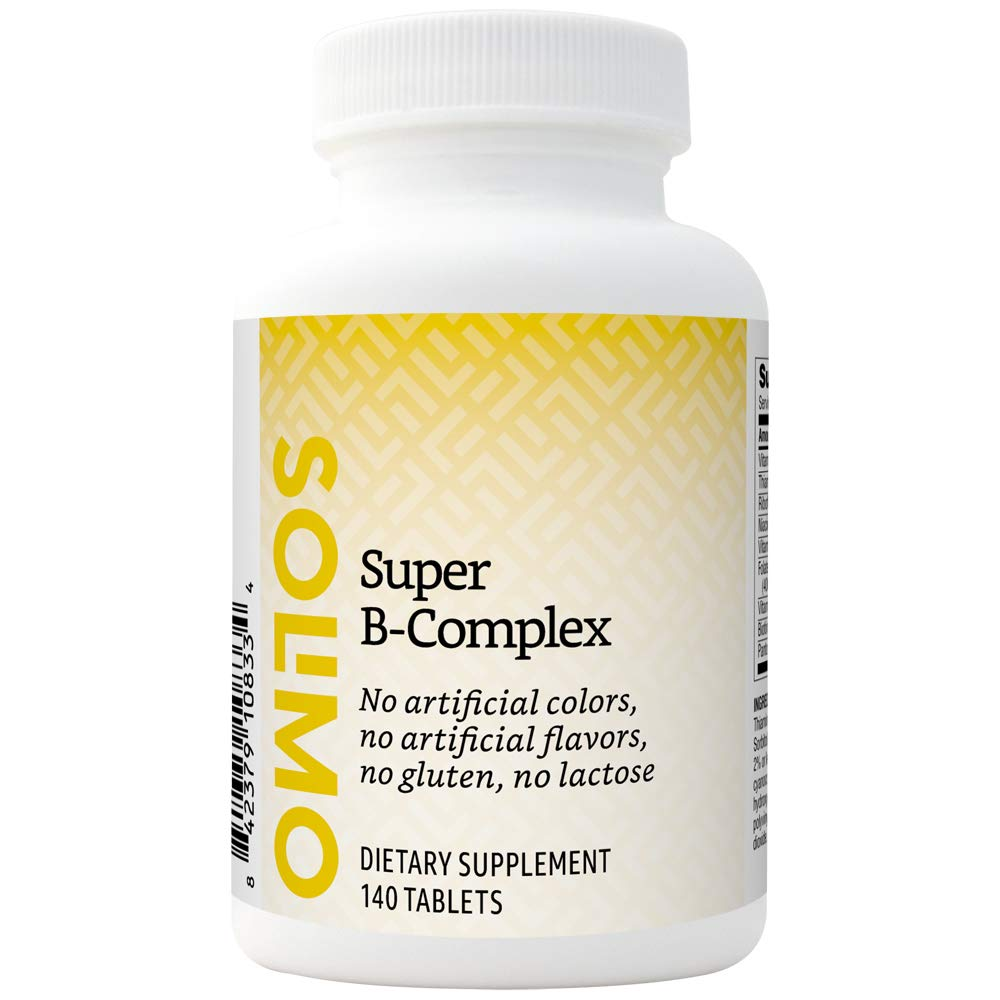Amazon Brand - Solimo Super B-Complex, Supports Immune System and Normal Energy Metabolism, 140 Tablets, Four Month Supply (Packaging may vary)