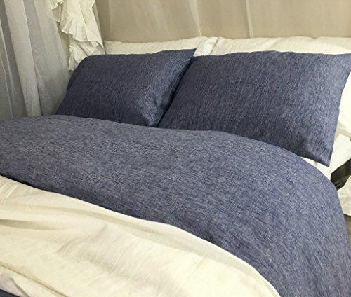 DENIM BLUE Chambray Duvet Cover hanmade in Natural Linen, Blue Bedding, Custom Bedding, Linen Bedding, Queen Duvet Cover, King Duvet Cover, Twin Duvet Cover, Full Duvet Cover, FREE SHIPPING by SuperiorCustomLinens
