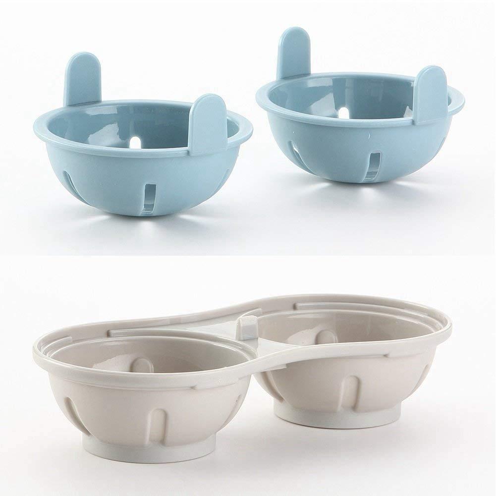 Escalfador de Huevos para microondas Fliyeong Doble Taza, Alta Capacidad