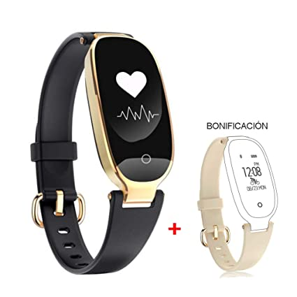 HOTSO Reloj Inteligente Elegante, Mujer Smartwatch Pulsera Inteligente de Actividades Deportivas Cuenta Pasos Ritmo Cardíaco para Android iOS con ...