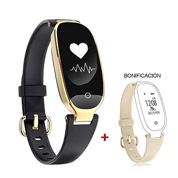 HOTSO Reloj Inteligente Elegante, Mujer Smartwatch Pulsera Inteligente de Actividades Deportivas Cuenta Pasos Ritmo Cardíaco para Android iOS con Bluetooth ...