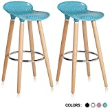 Cheap Krei Hejmo Plastic Bar Stool Chair with Wood Base Gelato – Set of Two (Sky Blue)