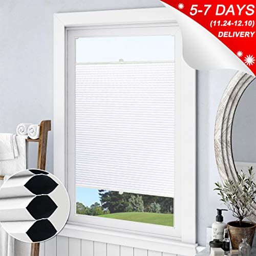 Keego Blackout Cellular Shades Top Down Bottom up, Custom Cut to Size Window Blinds, White, 26″ W x 51″ H, Room Darkening Thermal Honeycomb Blinds for Bedroom Windows French Door Skylight
