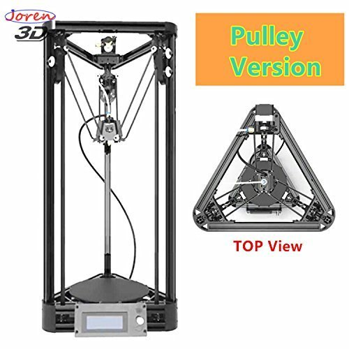 2017 Updated Version Auto Leveling Pulley Version Kossel Delta 3D Printer Unassemble Delta Rostock 3D Printer DIY Kit Large Print Size / Black Color / Free Offer with Test Filament and Assemble Tool Joren Tech