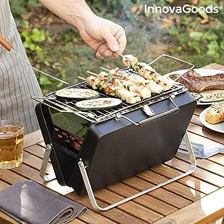 InnovaGoods Maletín Barbacoa de Carbón Portátil y Plegable Handy·Q - Picnic, Negro