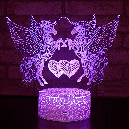 Night Lights Pegasus Flying Horse 3D LED Lamp 7 Colors Touch Switch Table Desk Light Lava Lamp Acrylic Illusion Room Lighting Birthday Holiday Gifts ... - Pegasus Light Fixtures