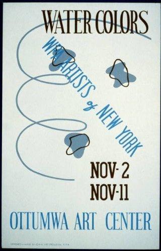 Photo: Water Colors,WPA Artists of New York,Ottumwa Art Center,Iowa,IA,1936-1940 Art Center Iowa