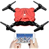 Leoie RC Quadcopter Drone with FPV Camera Foldable Aerofoils, Smart Phone and App Control UAV Predator, RTF Helicopter with 4 Channels, 6-Axis Gyro, Gravity Sensor(Remote Control+1pcs Battery) Red